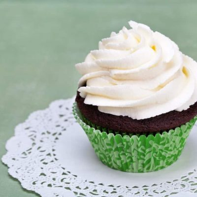A chocolate cupcake with vanilla icing and copy space. See my portfolio for more cupcakes!